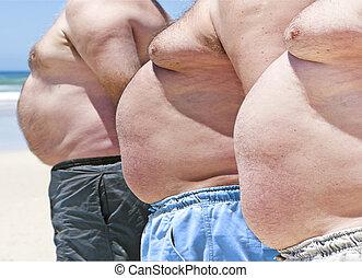 obeso, uomini, tre, grasso, fine, spiaggia