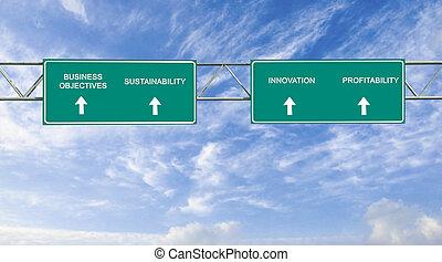obiettivi, strada, affari firmano