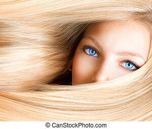 occhi blu, donna, girl., biondo, biondo