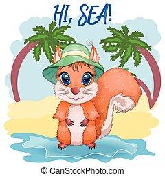 occhi, cartone animato, vacanza, bello, cappello, scoiattolo, carino, viene, concetto, estate, mare