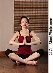 occhi, donna meditando, chiuso