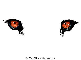 occhi, grafico, illustrazione, tiger, vettore, fondo, bianco, mascotte