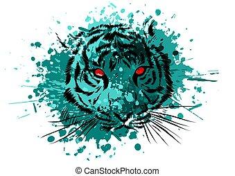 occhi, grafico, tiger, fondo, bianco, mascotte