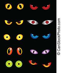 occhi, set, animale