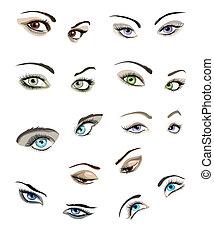 occhi, set, woman's
