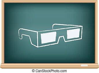 occhiali, cinema, asse, 3d