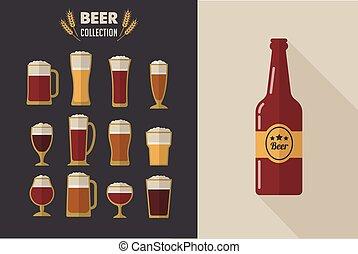 occhiali, collezione, birra, vettore, appartamento