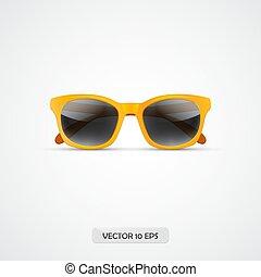 occhiali da sole, isolato, giallo, sunglasses., realistico, vettore, white., icona, 3d