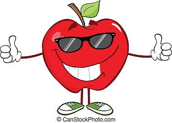 occhiali da sole, mela rossa