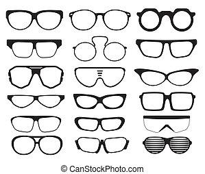 occhiali da sole, silhouette, occhiali