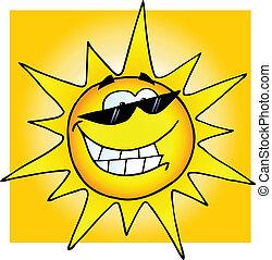 occhiali da sole, sole sorridente
