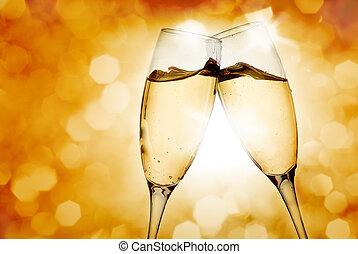 occhiali, due, champagne, elegante