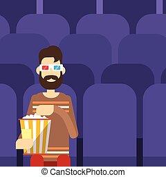 occhiali, osservare, popcorn, sedere, cinema, film, uomo, 3d