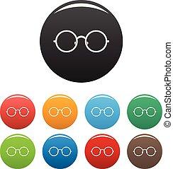 occhiali, set, icone, colorare, vettore, bambini