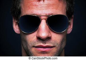 occhiali sole indossare, aviatore, uomo