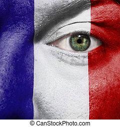 occhio, mostra, dipinto, sostegno, faccia, bandiera, verde, francia