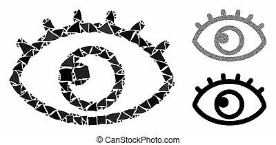 occhio, pezzi, brusco, mosaico, icona