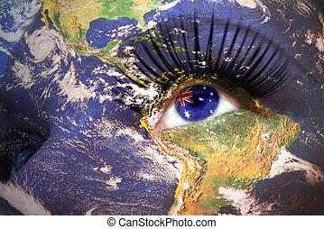 occhio, womans, dentro, struttura, faccia, pianeta, bandiera, terra, australiano