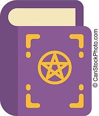 occulto, appartamento, viola, incantesimo, halloween, illustrazione, withes, libro, icon., pentagram, cover.
