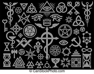 occulto, edition), magia, medievale, francobolli, nero, segni, (silver