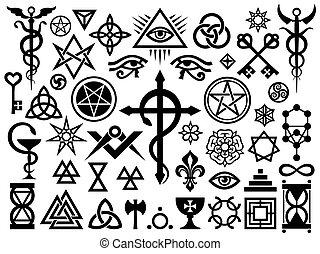 occulto, francobolli, magia, medievale, segni