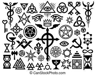 occulto, magia, medievale, (origin, set), francobolli, segni