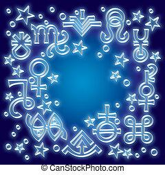 occulto, mistico, symbols., astrologico, brano, diadema, un po', modello, stars., celestiale, fondo, segni, stampato in rilievo, argento, recente