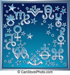 occulto, mistico, symbols., brano, diadema, un po', astrologico, segni, recente