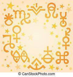 occulto, symbols), celestiale, astrologico, diadema, modello, mattina, mistico, stars., riscaldare, fondo, segni, (astrological