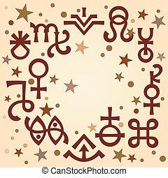 occulto, symbols), celestiale, astrologico, diadema, modello, mistico, stars., fondo, segni, anticaglia, (astrological