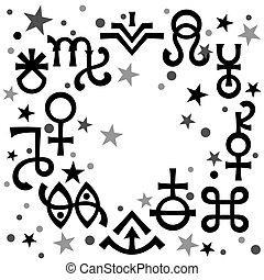 occulto, symbols), celestiale, astrologico, diadema, modello, nero-e-bianco, mistico, stars., fondo, segni, (astrological