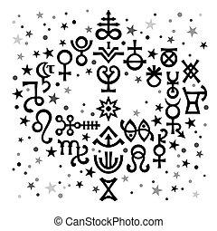 occulto, symbols), celestiale, astrologico, mazzolino, modello, nero-e-bianco, mistico, stars., fondo, segni, (astrological