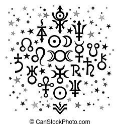 occulto, symbols), set, astrologico, modello, nero-e-bianco, mistico, stars., celestiale, fondo, segni, n20, (astrological