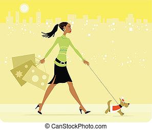 occupato, camminare, shopping donna, cane