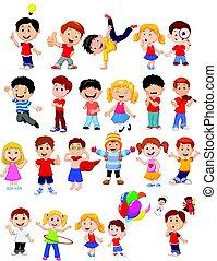 occupato, differente, bambini, espressione