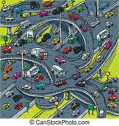 occupato, intersezione, autostrada