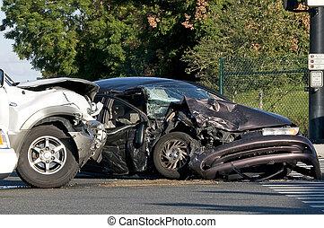 occupato, intersezione, incidente, due, veicolo