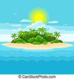 ocean., alberi., viaggiare, illustrazione, oceano, tropicale, palma, fondo, isola, paesaggio