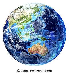oceania, d, globo, un po', clouds., realistico, 3, fondo., terra, vista., interpretazione, bianco