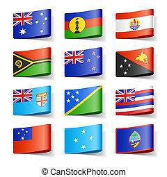 oceania., flags., mondo