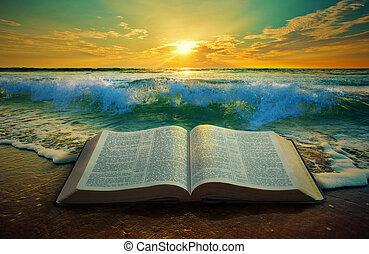 oceano, alba, bibbia