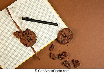 ocra, biscotti, chip cioccolato, vista superiore, farina avena, penna, fondo, aperto, vuoto, quaderno