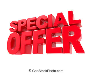 offerta, -, text., speciale, rosso, 3d