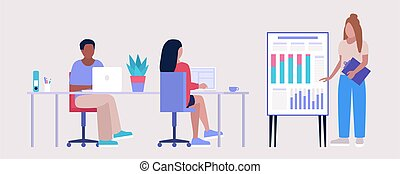 officina, educazione, riunione ufficio, personale, illustrazione