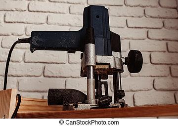officina, su, jigsaw, chiudere, attrezzo carpenteria, elettrico
