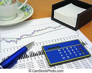oggetti, 2, ufficio, affari, grafico