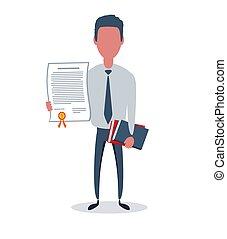 oggetti, affari, vettore, appartamento, o, concept., semplice, uomo affari, clerk., trendy, illustration., stile, maschio, carattere