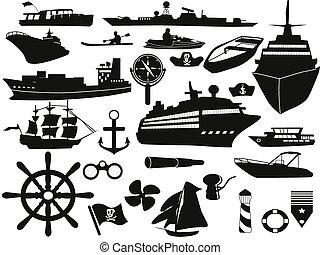 oggetti, set, navigazione, icona
