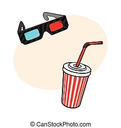 oggetti, tazza, cinema, -, acqua, carta, soda, 3d occhiali