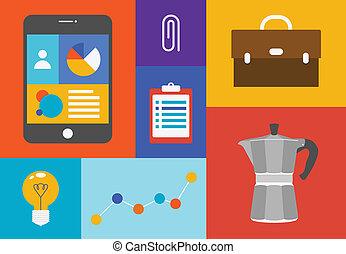 oggetti, ufficio, colorito